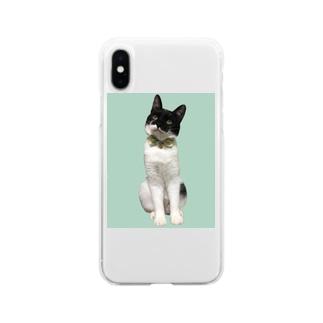 梅田ぽんたろー緑ドット猫 Soft clear smartphone cases