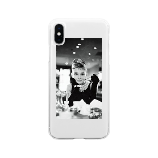 Xoxoのxoxo オードリーヘップバーンver Soft clear smartphone cases