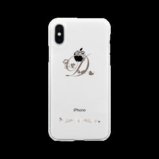 sonoteniのアルファベット イニシャル ボタニカル D #132 Soft clear smartphone cases