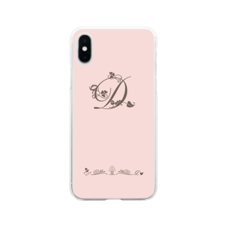 sonoteniのアルファベット イニシャル ボタニカル ピンク D #132 Soft clear smartphone cases