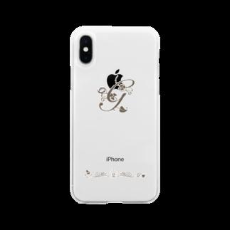 sonoteniのアルファベット イニシャル ボタニカル G #135 Soft clear smartphone cases