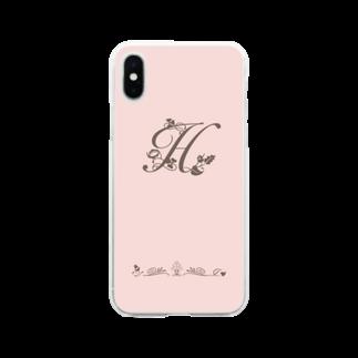 sonoteniのアルファベット イニシャル ボタニカル ピンク H #136 Soft clear smartphone cases