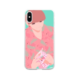 柄シャツ Soft clear smartphone cases