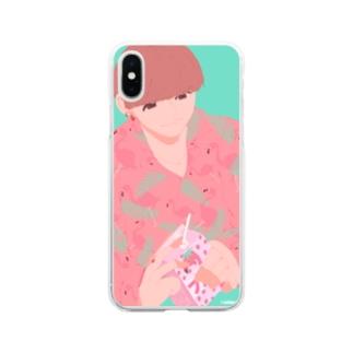 柄シャツ Soft clear smartphone cases