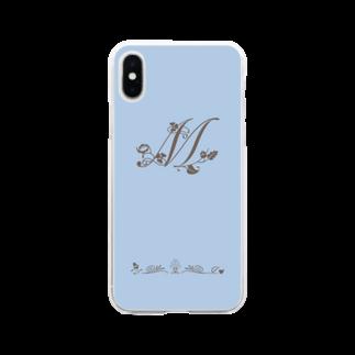 sonoteniのアルファベット イニシャル ボタニカル ブルー M #166 Soft clear smartphone cases
