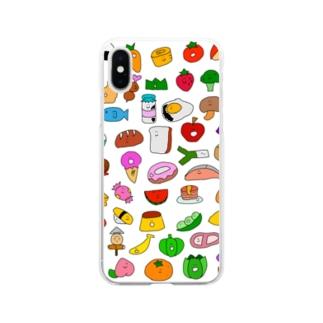 たべものがいっぱい Soft clear smartphone cases