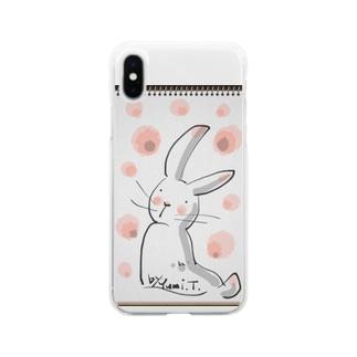 見返りうさぎ Soft clear smartphone cases