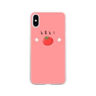 とまと!&お花スマホケース Soft clear smartphone cases