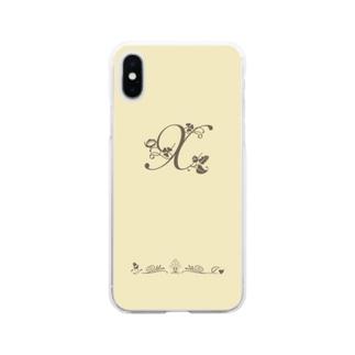 アルファベット イニシャル ボタニカル クリーム X #203 Soft Clear Smartphone Case