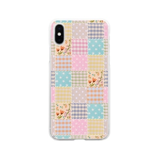 ミルキーパッチワーク風♡(花) Soft clear smartphone cases