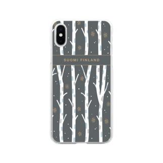 フィンランドの白樺(black) Soft clear smartphone cases