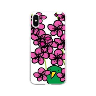 梅とトリ Soft clear smartphone cases