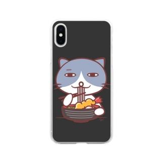 そばを食べるネコ(くろ) Soft clear smartphone cases