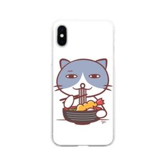 そばを食べるネコ(しろ) Soft clear smartphone cases