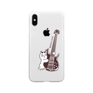ベース猫 Soft clear smartphone cases