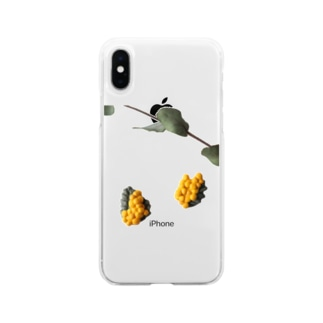 陶土ミモザ&ユーカリ  Soft clear smartphone cases