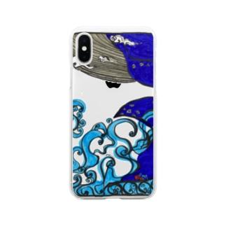 ソラを游ぐクジラ Soft clear smartphone cases