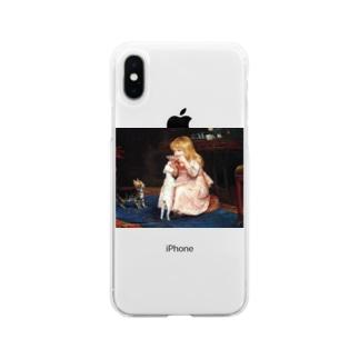 犬のエサ横取り少女 西洋画 Soft clear smartphone cases
