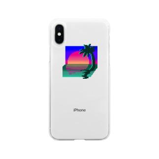 擬似3Dの夕焼け Soft clear smartphone cases