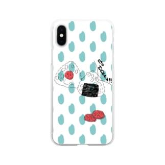 おにぎり お米ドット Soft clear smartphone cases