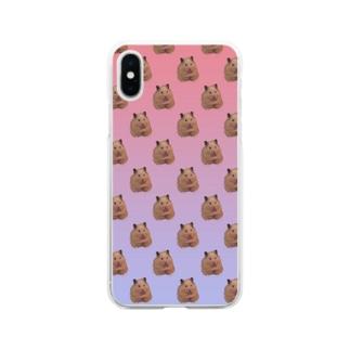 ポンちゃんの大群 Soft clear smartphone cases