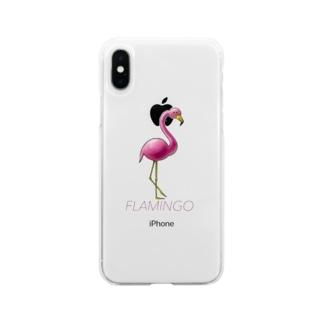フラミンゴ Soft clear smartphone cases
