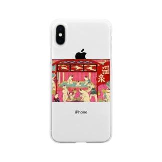 ネコ温泉 浮世絵 Soft clear smartphone cases