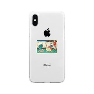 豆みたいな生き物おったまげ 浮世絵 Soft clear smartphone cases