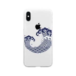 浮世絵デザイン(波) Soft clear smartphone cases