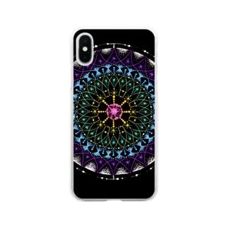 七色﹣点描曼荼羅 Soft clear smartphone cases