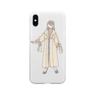 トレンチコートのおんなのこ Soft clear smartphone cases