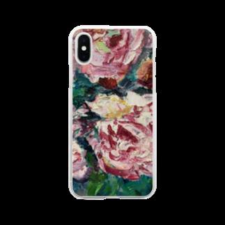 手描きやさんの油彩-薔薇- Soft clear smartphone cases