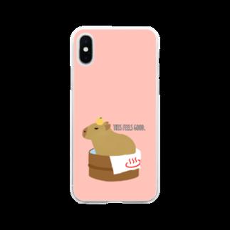もんたろうの桶風呂に入ったカピバラ Soft clear smartphone cases