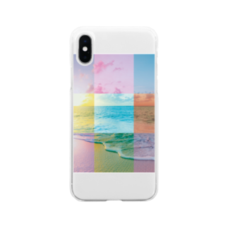 MARCHの浜辺のコラージュ Soft clear smartphone cases