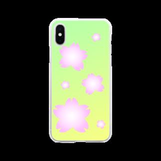 しる猫☆ミ雑貨店の桜 Soft clear smartphone cases
