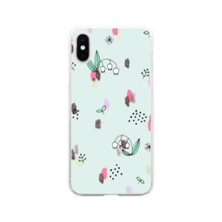水彩&線画すずらん【ミント】 Soft clear smartphone cases