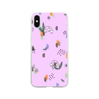 水彩&線画すずらん【ライラック】 Soft clear smartphone cases