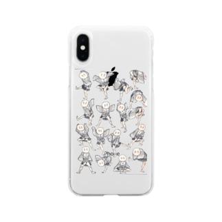 北斎漫画シリーズ1 Soft clear smartphone cases