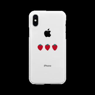 hanakumaのストロベリー Soft clear smartphone cases