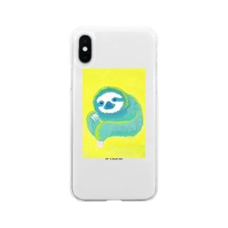 ナマケモノ3(アクリル画) Soft clear smartphone cases