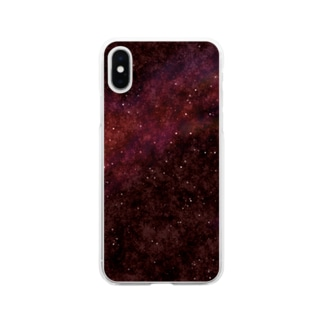 葡萄色の夜空 Soft clear smartphone cases