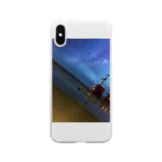 きれいな星と海 Soft clear smartphone cases