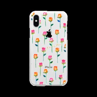 タイヤキ・エクスプリマのローズフラワー/クリア Soft clear smartphone cases