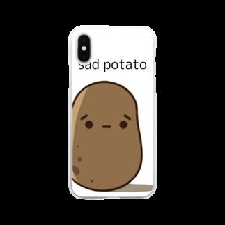 momoko_shopの悲しい ポテト Soft clear smartphone cases
