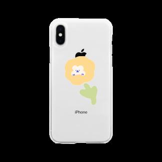momoko_shopのくまさん お花 かわいい ふんわり Soft clear smartphone cases