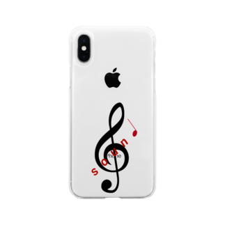 soundのsound ロゴ (小) Soft clear smartphone cases