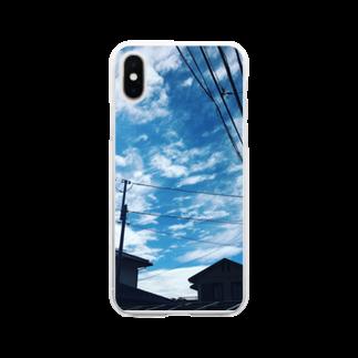 湘南の風景  Seaside landscape at Shonan area in japanの電線のある風景 Soft clear smartphone cases