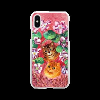 珠古堂のパンジーとタビー(トラネコ) Soft clear smartphone cases
