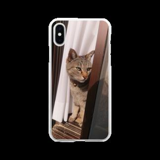 キジトラ猫ミミの愛猫ミミさん Soft clear smartphone cases