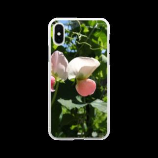 FUCHSGOLDの日本の野菜:エンドウの花 Pea flower Soft clear smartphone cases